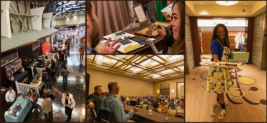 Collage of images from FCIA events, from trade shows, to lectures, to tastings