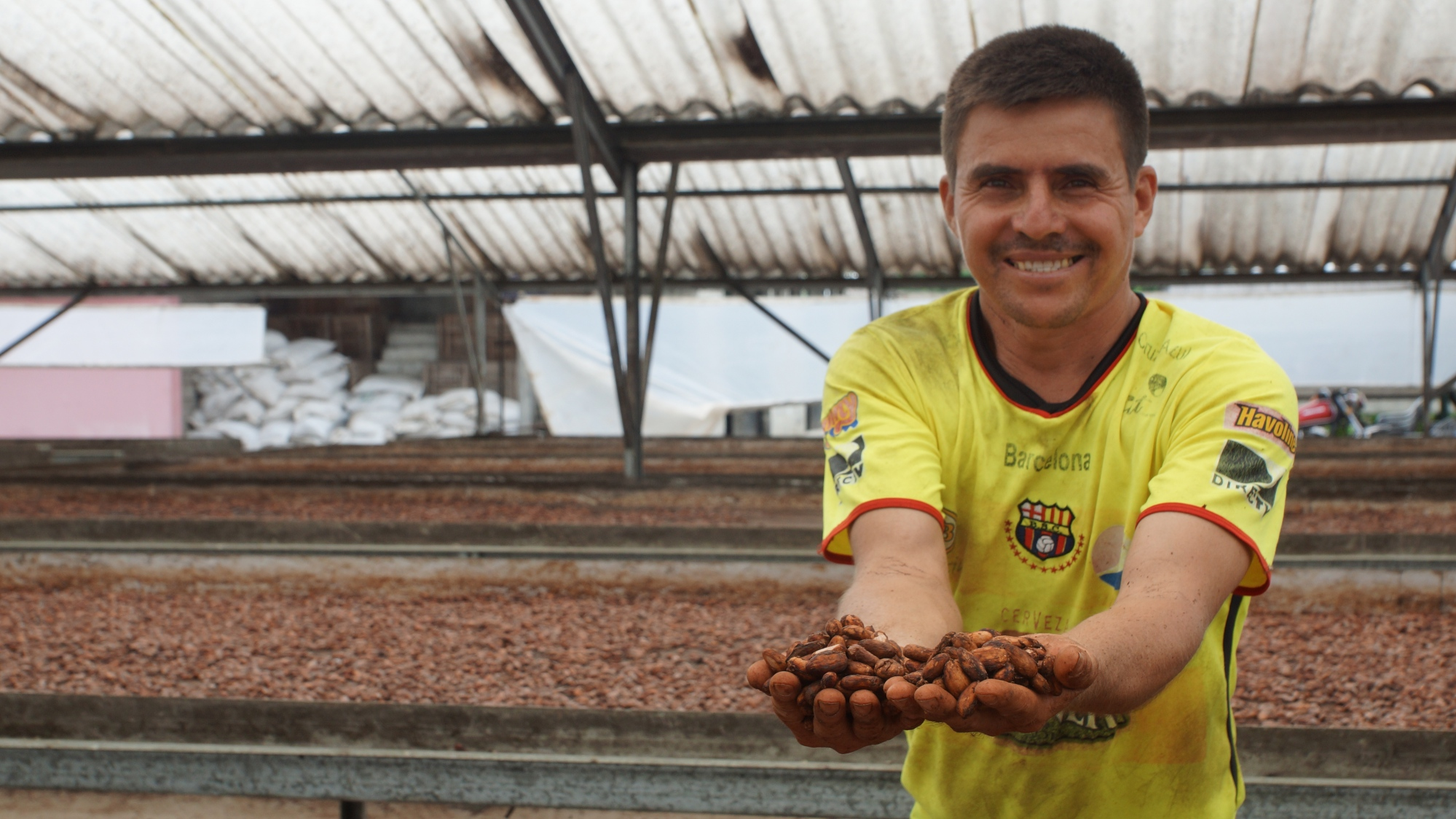 Man holding up cacao seed in Ecuador
